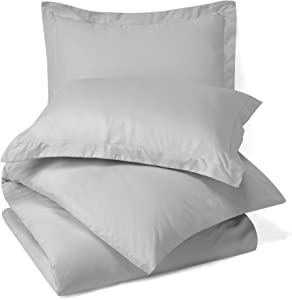 Royal Home Collection 100% Egyptian Cotton 3 PCs- Duvet Cover Set Twin/Twin XL, Silver Grey Solid 600 Thread Count