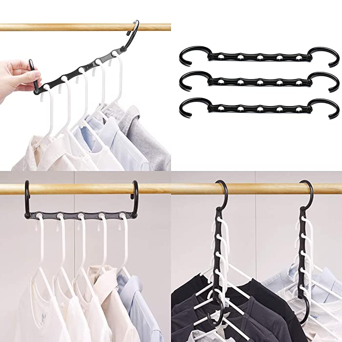 HOUSE DAY Household Mall Pack of 10 Pcs 15 inch Black Magic Hangers Closet Space Saving Wardrobe Clothing Hanger Oragnizer