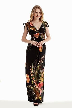 GWCSS Vestido De Seda De Hielo V-Cuello Flojo Aumentar Mujer Gorda , 2 ,