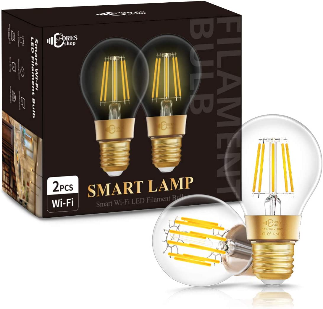 DORESshop Wi-Fi Vintage Edison Smart Bulb, E26 Dimmable 10W 75W Equivalent A19 Filament Wi-Fi Smart LED Light Bulb, A19 Antique LED Filament Light Bulb, Work with Alexa and Google Assistant, 2 Pack
