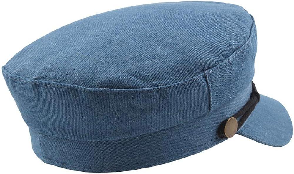 New Beret Cap Autumn Winter Womens Denim Mens Casual Navy Hat Fashion Classic Retro Copper Buckle Flat Top Cap hat