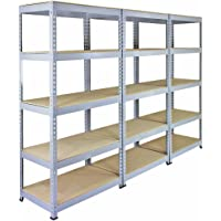 3 x Q-rax Stellingkasten - 90cmx50cmx182cm - 100% boutloos - Draagkracht: 200 kg per plank - opbergrek metaal