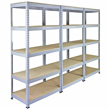 3 Racking Bays 90cm Garage Shelving Storage Warehouse Shelves Unit Steel 5 Tier