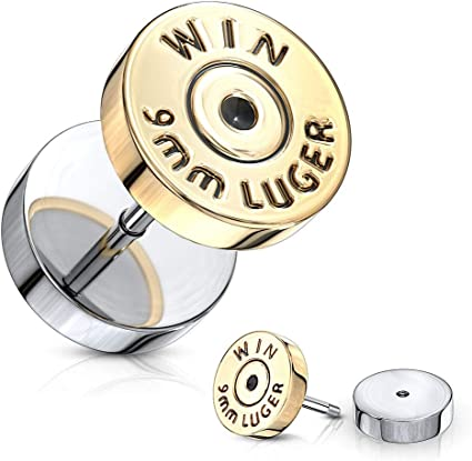 Pair Bullet Gold IP 16g Fake Plugs Win 9mm Luger Surgical Steel Faux Cheater