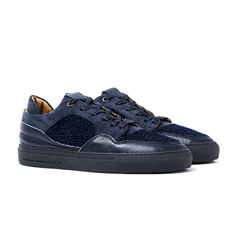 Android Homme Omega 117 Navy Leather & Suede Trainers-UK 7 klZCT6h