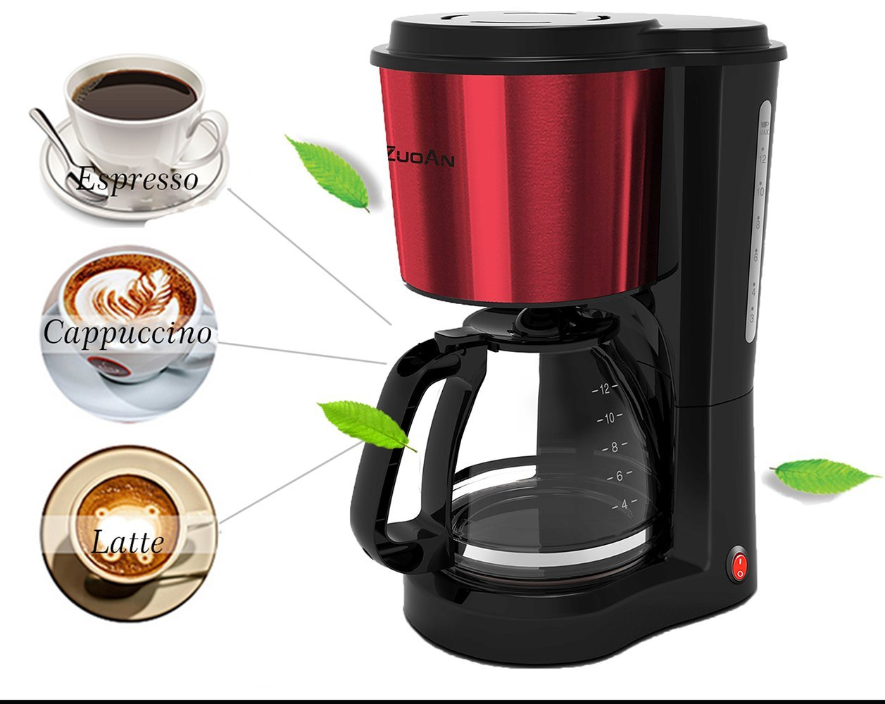 Coffee Make 12-Cup Drip Coffeemakerr,ZuoAn With Glass Coffee Pot and Reusable Mesh Filter, Stainless Steel Coffee Machine,Black Large Capacity, CM-601 Black+Red (Black+Red) by ZUOAN (Image #4)
