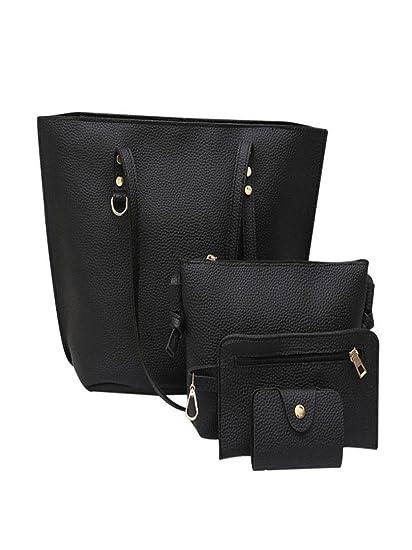 4Pcs Women s Leather Shoulder Bag Rakkiss Litchi Pattern Bag Crossbody Bag  Handbag Wallet Large Tote Satchel 48323fd6fbf59