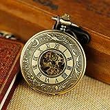 Vintage Steampunk Skeleton Mechanical Mens Chain Pocket Watch Pendant