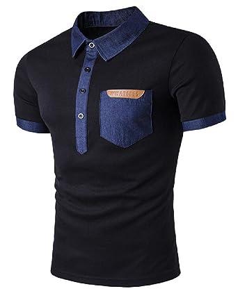 013ab9d2 Tootless-Men Slim Casual Denim Cotton Patchwork Western Polo Shirt Black S