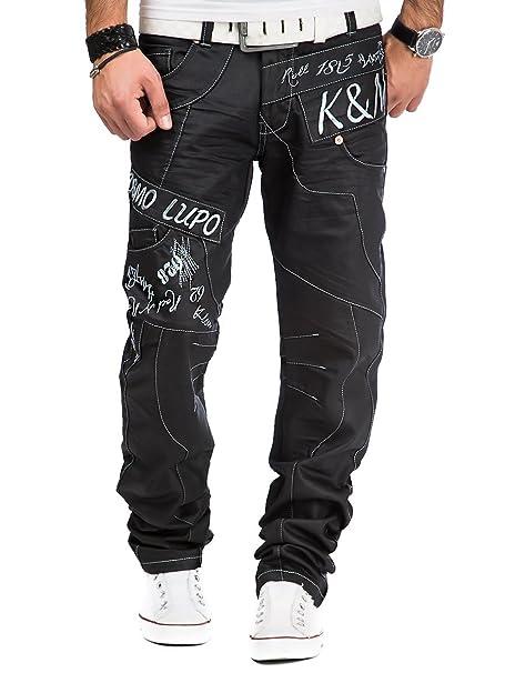 Kosmo Lupo Herren Jeans Denim Hose Japan Style Vintage Clubwear Chino Used Schwarz