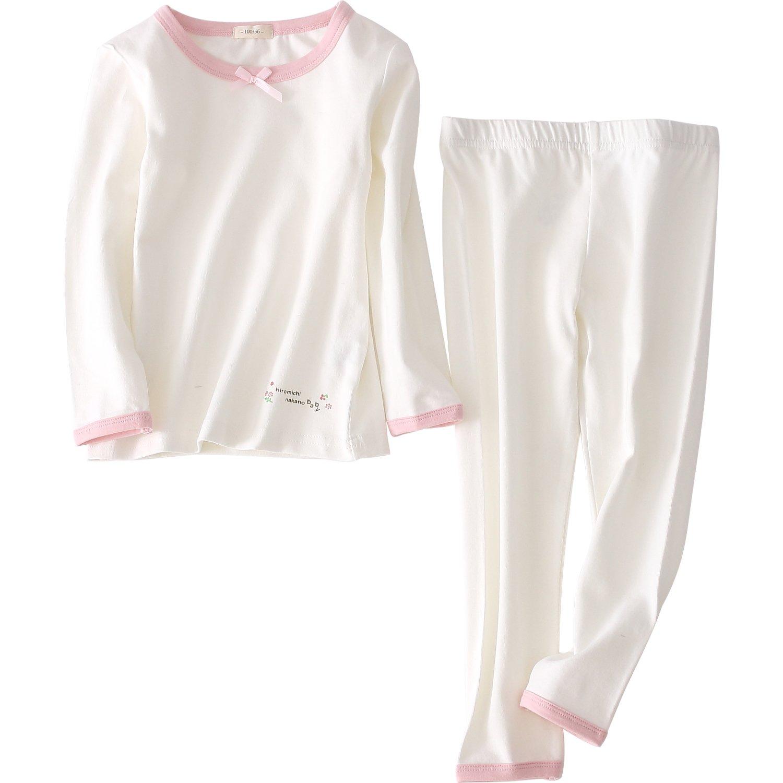 XIANGWU Girls Pajamas Sleepwear 2-Piece Cotton Long Sleeve Top and Pant Clothing Set (3-4T, White)