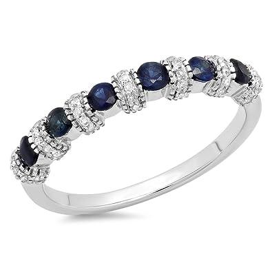 14 Rond Saphir Or Blanc Carats Bleu Dazzlingrock Et Collection NkX8Own0P