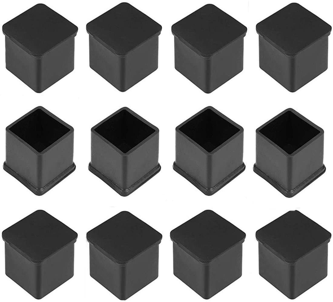 ONLYTU 12PCS Square Rubber Chair Leg Tips Table Foot Caps Anti-Slip Furniture Feet Covers Floor Protectors Black (25 X 25mm / 1 inch X 1 inch)