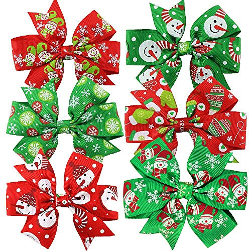 6 PCS Christmas boutique kids bow polka dot hair bow for baby girls kids hair pin clips baby accessories