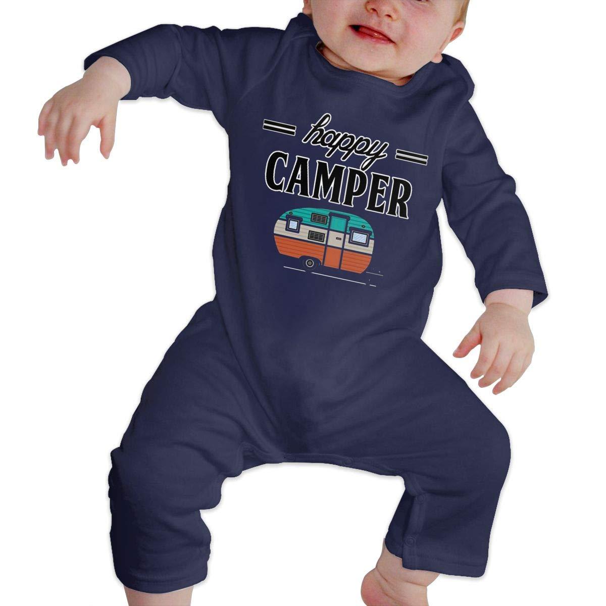 SININIDR Newborn Jumpsuit Infant Baby Girls Happy Camper Long-Sleeve Bodysuit Playsuit Outfits Clothes Black