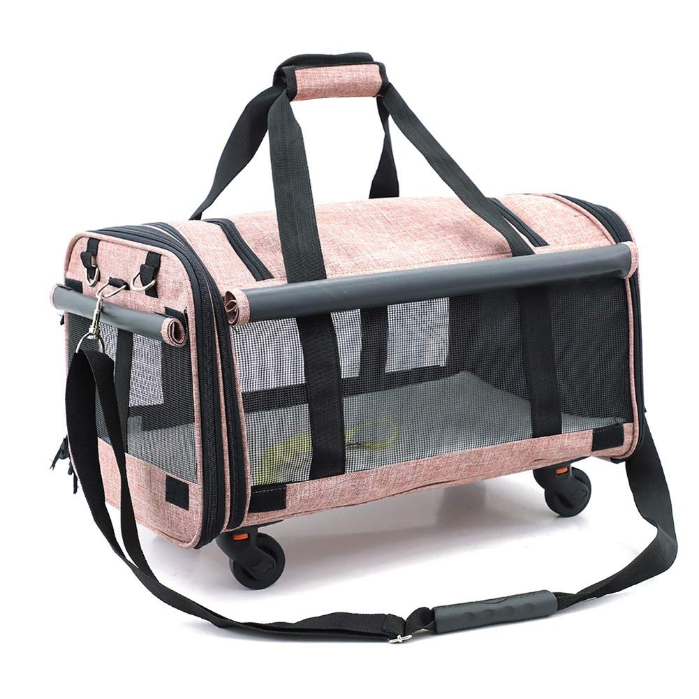 PACKAGE Dragging Pet Bag Large Capacity Universal Wheel Pet Out Portable Pet Sling Carrier Breathable Travel Safe Sling Bag Carrier Dogs Cats Breathable Mesh Portable,B by PACKAGE