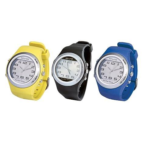 Reloj analógico y digital, parlante, color gris, amarillo