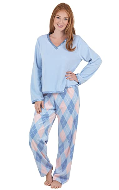 PajamaGram Pijama para mujer - Forro polar suave y calentito - Cuello en V - Azul