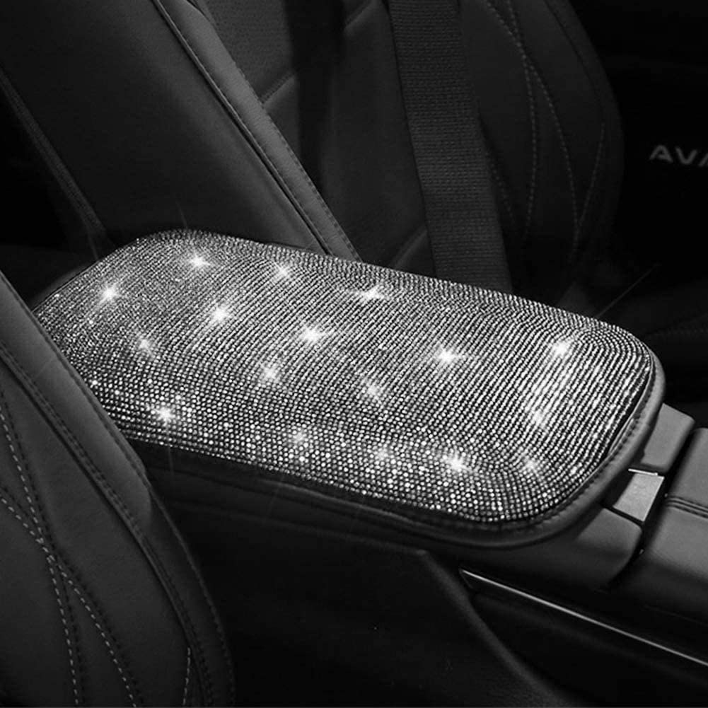 Uphily Bling Diamond Center Console Cover Luster Crystal Rhinestone Arm Rest Padding Protective Case for Women