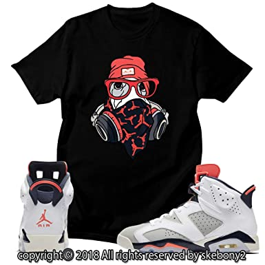 3f4f7dfcba4308 Custom T Shirt Matching Style of AIR Jordan 6 Infrared Tinker JD 6-10-6 at  Amazon Men s Clothing store