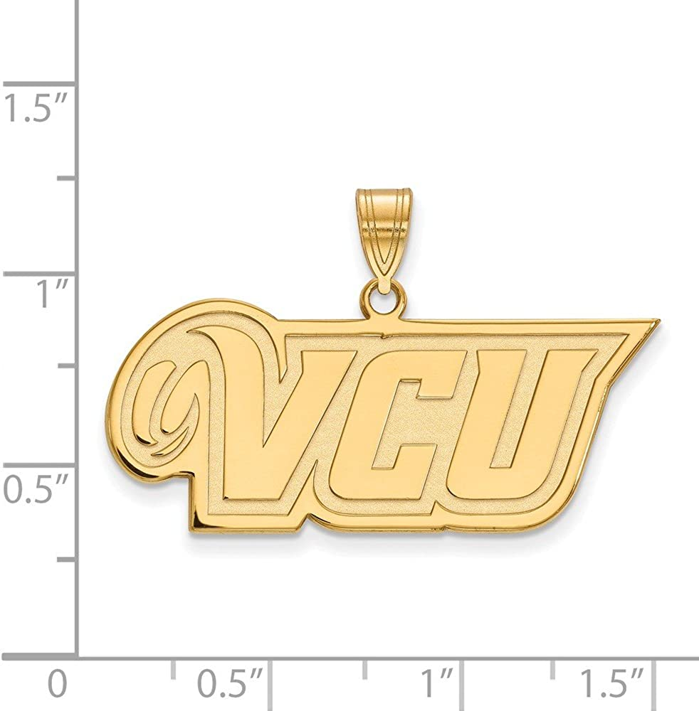 925 Sterling Silver Yellow Gold-Plated Official Virginia Commonwealth U Medium Pendant Charm 21mm x 35mm