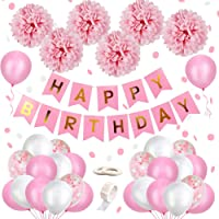 MMTX Decoración de Cumpleaños para Niña, Rosa Feliz