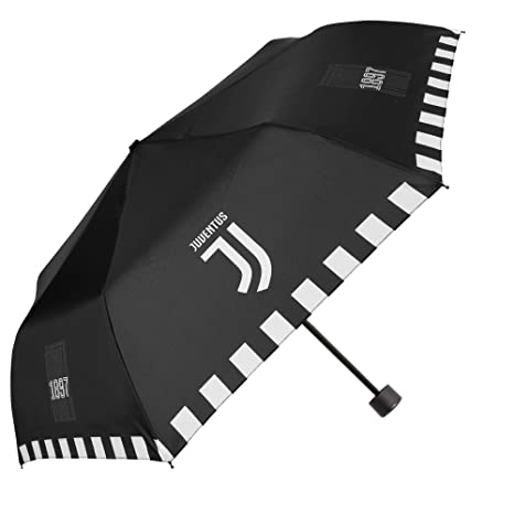 Paraguas Plegable Juventus Hombre y Niño - Paraguas Mini Juvenil Juve - Negro y Blanco -