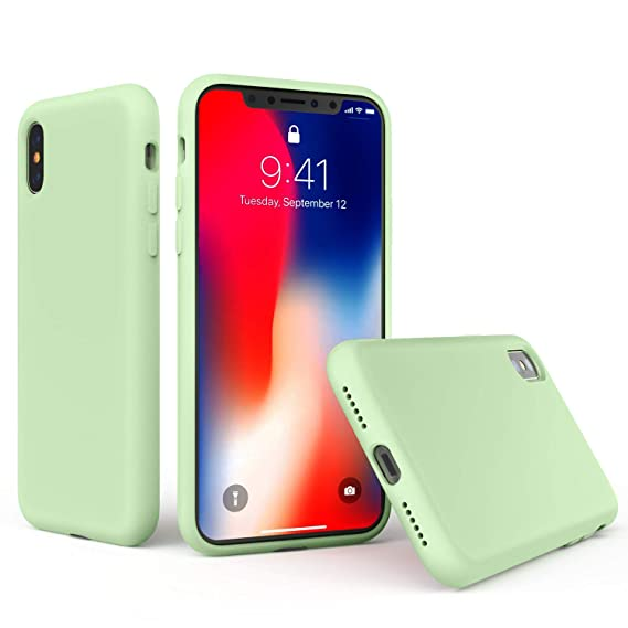 iPhone X/Xs Case - Xmifer Soft Silicone Slim Rubber Bumper Case Anti-Scratch Microfiber Lining Hard Shell Shockproof Full-Body Protective Case Cover ...