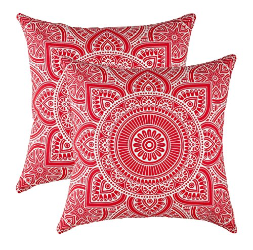 - TreeWool Decorative Square Throw Pillow Covers Set Mandala Accent 100% Cotton Cushion Cases Pillowcases (18 x 18 Inches / 45 x 45 cm; Red in Cream Background) - Pack of 2