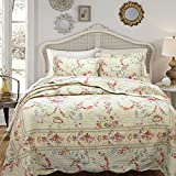 3 Piece King, Romantic French Country Patchwork Pattern Quilt Set, Traditional Beautiful Rustic Floral Design, Gorgeous Lodge Style Themed, Unique Printed Bedding, Adorable Cream White, Multi Color