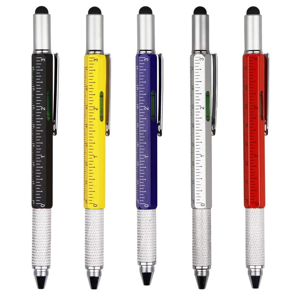 TSML Metal Multi tool Pen 6-in-1 Stylus Pen Blue ink - With Screwdriver, Phillips Flathead Bit, Ballpoint Pen, Stylus pen, Bubble Level and Ruler (5 packs)