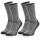 Socks Mens Compression Crew Athletic Sport Cushion Boot for Hiking (Grey 2 Pair, L)