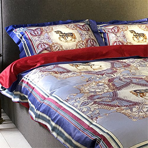 2000T Pima Cotton Digital Printing Duvet Cover Set 4 pieces Floral Styleextra queen^^^light blue with dark blue by YOUXIMAKE (Image #3)