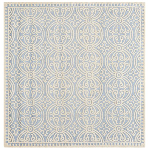 8sq Light Blue Color - Safavieh Cambridge Collection CAM123A Handcrafted Moroccan Geometric Light Blue and Ivory Premium Wool Square Area Rug (8' Square)