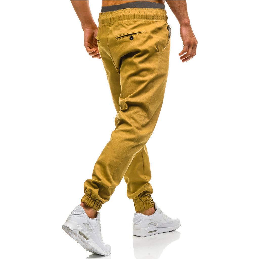 beautyjourney Pantalones Cargo Holgados para Hombre Pantalones Deportivos Casuales Pantal/ón Chino Ajustado de Tela Pantalones de Jogging Pantalones de Entrenamiento