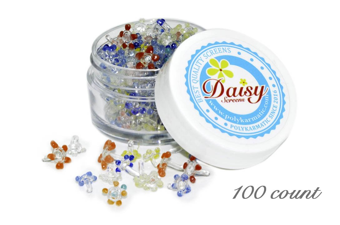 200 Glass Daisy Screen for pipes (with 2 small white top BPA free container)