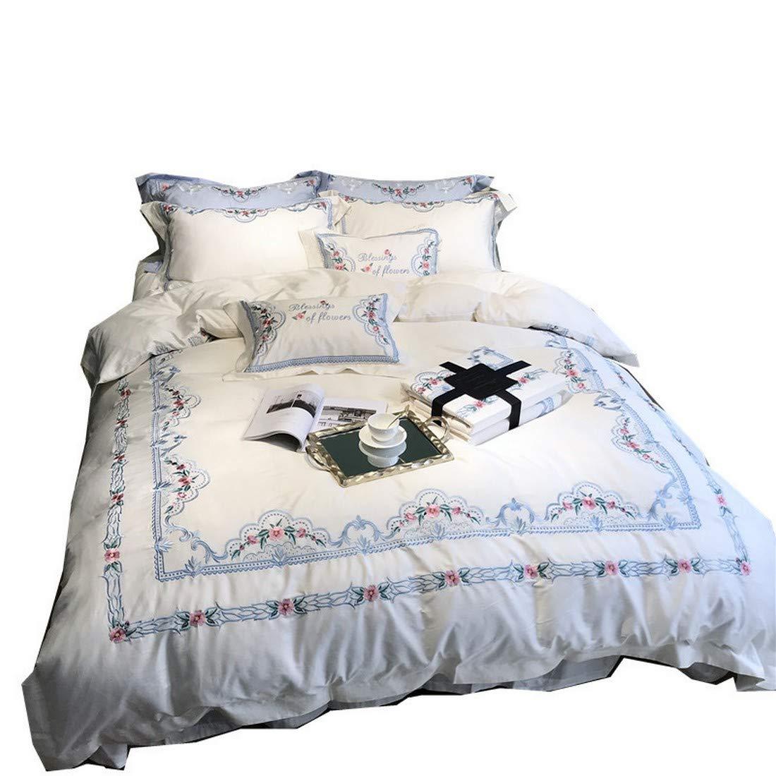 Kainuoo 高精度刺繍寝具ピュアコットン寝具セット (Size : QUEEN) B07N6QSJV7  Queen
