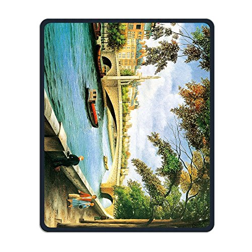Canal Tropical Rug - Summer Moon Fire Non-Slip Rubber Comfortable Mouse Pads Ancient Oil Painting Canal & Bridge Mouse Mat Personality Desings Gaming Mouse Pad Style 11.8 ¡Á 9.8 Inches