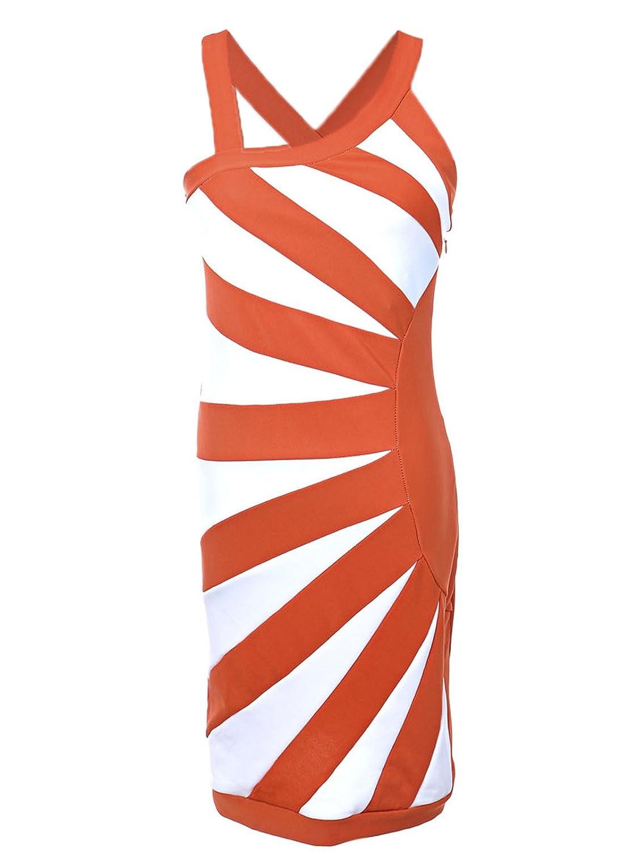 Anna-Kaci S/M Fit Orange White Skin Tight Trendy Chic Glam Fashion Bandage Dress
