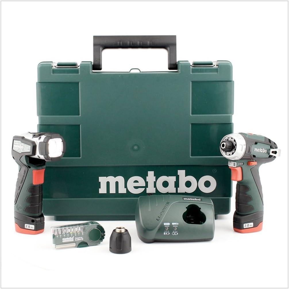 suitcase 2 rechargeable battery incl Metabo PowerMaxx BS Basic Set Akku-Bohrschrauber 10.8V 2Ah Li-Ion incl