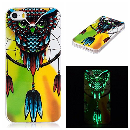iPhone SE Case, iPhone 5/5S Case, Firefish Luminous Noctilucent Glow in the Dark Case [Drop Protection] [Anti-scratch] Flexible Soft TPU Shell Case for Apple iPhone 5S/5/SE-Owl-B