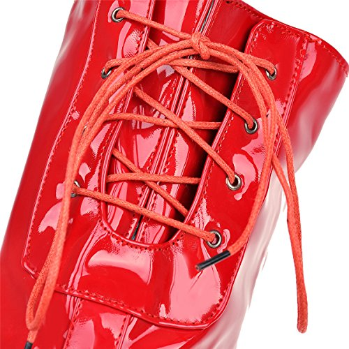 YE Damen High Heels Plateau OverKnee Lack Schnürstiefel High Boots mit Blockabsatz Reißverschluss Winter Schuhe Rot