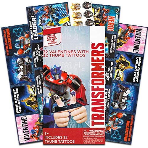 (Transformers Valentines Thumb Wars Cards with Temporary Tattoos 32 Ct)