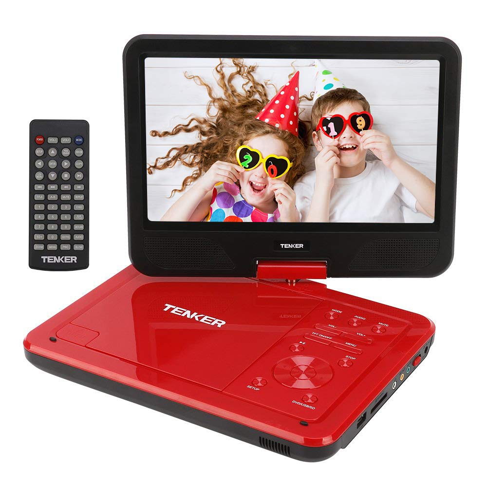 TENKER 10.5'' Portable DVD Player with Swivel Screen, 3 Hours Rechargeable Battery with SD Card Slot and USB Port (Red)