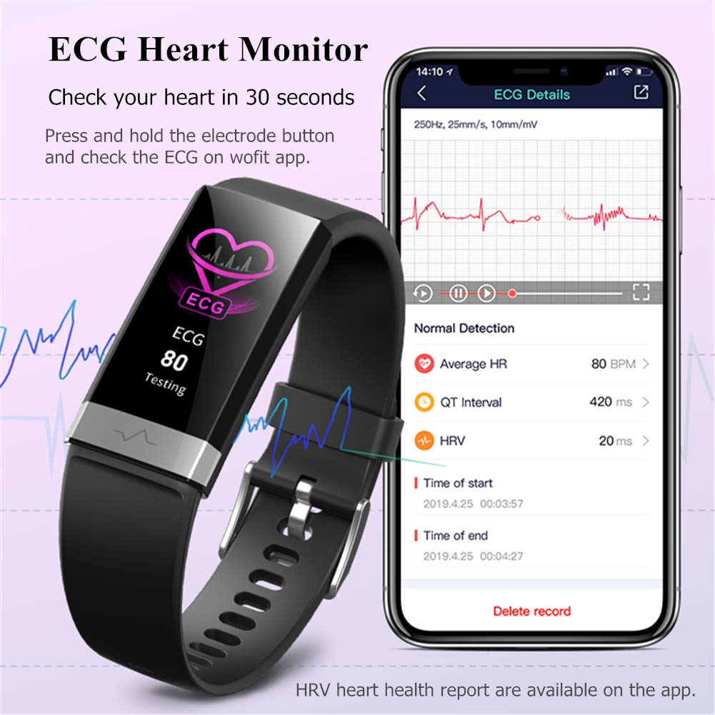 V19 HR ECG + PPG Dual Heart Rate Monitor Fitness Activity Tracker Health  Smart Watch with HRV SpO2