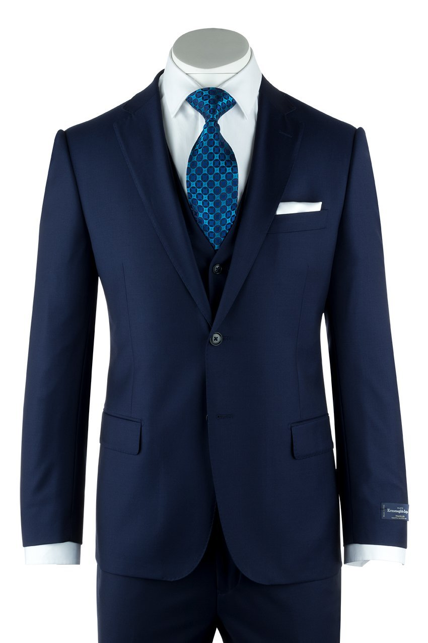 Tiglio Zegna Ermenegildo Cloth Superfine Wool Cobalt Blue Suit & Vest by Canaletto Menswear