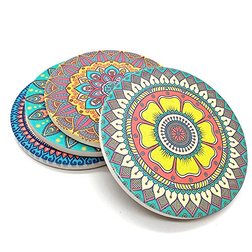 (Absorbent Ceramic Coasters Mats with Cork base for Drinks, Cocktail, Pack of 4 Stone Coaster Set for Mugs and Cups (Bohemia style))