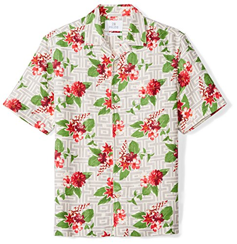 28 Palms Men's Relaxed-Fit Silk/Linen Tropical Hawaiian Shirt, Grey/Fuchsia Tile Floral, - Tile Linen