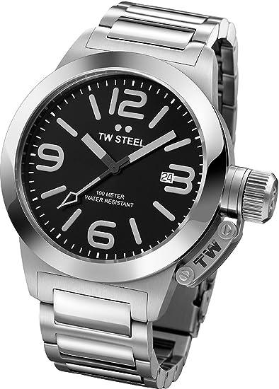 TW Steel TW300 - Reloj analógico unisex, correa de acero inoxidable color gris: Amazon.es: Relojes