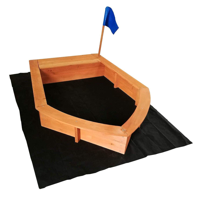 Wiltec Sandkasten Stiefel 150x108x220cm Holz Vliesboden Holzsandkasten Garten